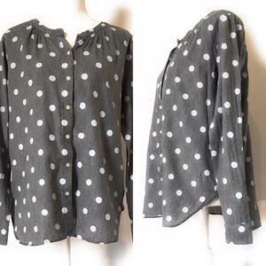 Loft button down blouse, Sz small, Polka dot